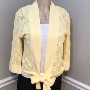 WESTBOUND Soft Yellow Crochet Cardigan Size S NWT